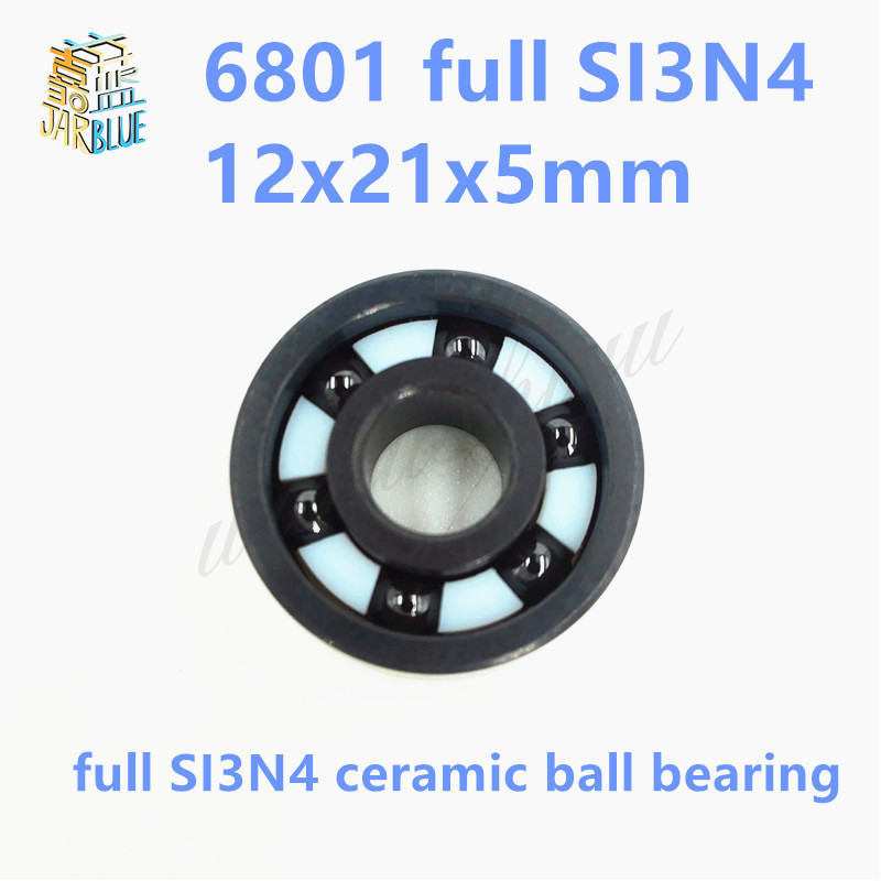 Free shipping 6801 2RS full SI3N4 ceramic deep groove ball bearing 12x21x5mm with seals 61801 2RS bearing P5 ABEC5