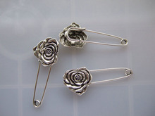 10pcs Silver Tone Strong Metal Kilt Scarf Brooch Safety Pin With Rose Flower 51mm