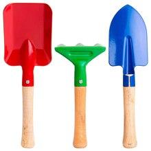 3pcs Kids Toy Short Wood Handle sand beach shovel rake doll toy casual fashion Gardening Tool