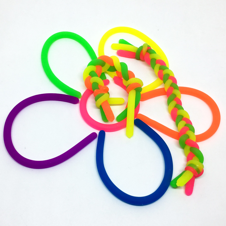 10pcs/lot TPR Soft Anti Stress Rope Toys Fidget Noodle Stretch/Pull/Twirl/Wrap/Squeeze Toy Neon Slings DIY Hand-knit Rope