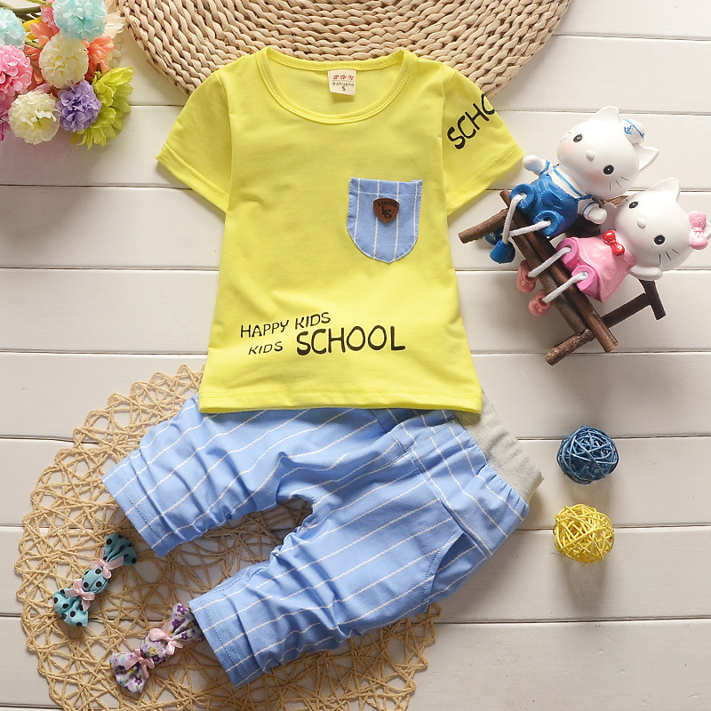 Summer Style Baby Clothing Set 2017 Newborn Girls Boys Outfits Printed Short Sleeved T-shirts Tops + Plaid Pants Kids Tracksuit