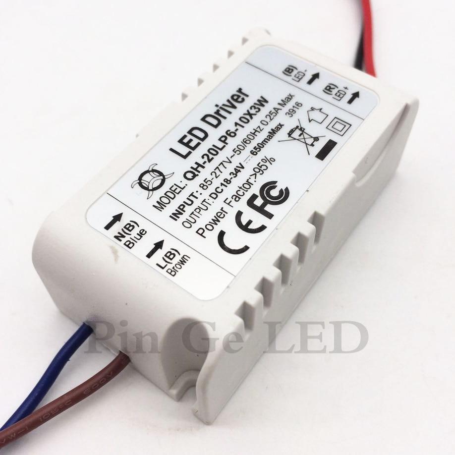 10pcs 6-10x3W výstup 650 mA DC18-34V LED osvětlení osvětlení transformátoru Napájecí zdroj pro 18W 20W 30W stropní svítidlo podhledové