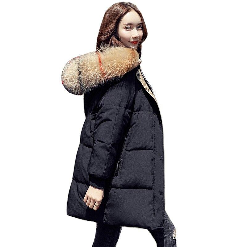 Women Winter   Down     Coat   Big Fur Collar Fashion Female Duck Parkas Jacket Thick Warm Elegant Long   Down     Coat   White duck   down   Jacket