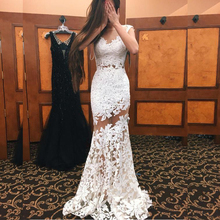 Gorgeous White Lace Prom Gown – Sheer Spaghetti Strap Floor-Length