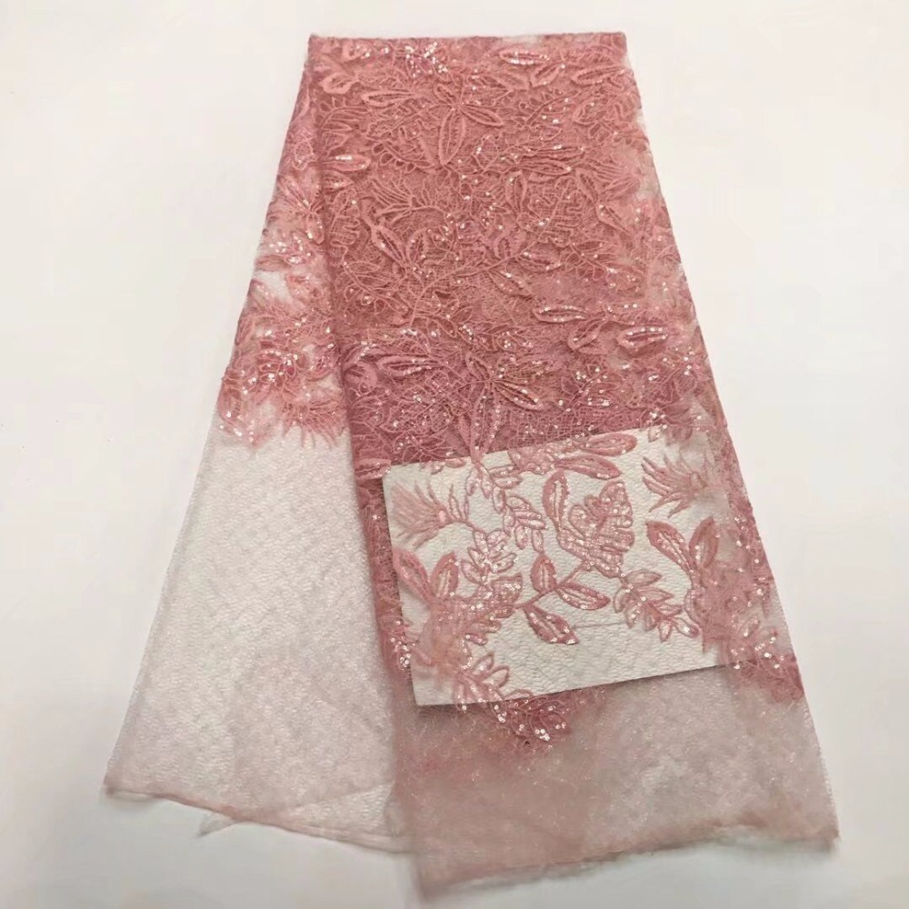 Pink Color sequins Embroidery Lace Fabric, High Quality African Tulle Lace Fabric 2017 Pink Color sequins Embroidery Lace Fabric, High Quality African Tulle Lace Fabric 2017