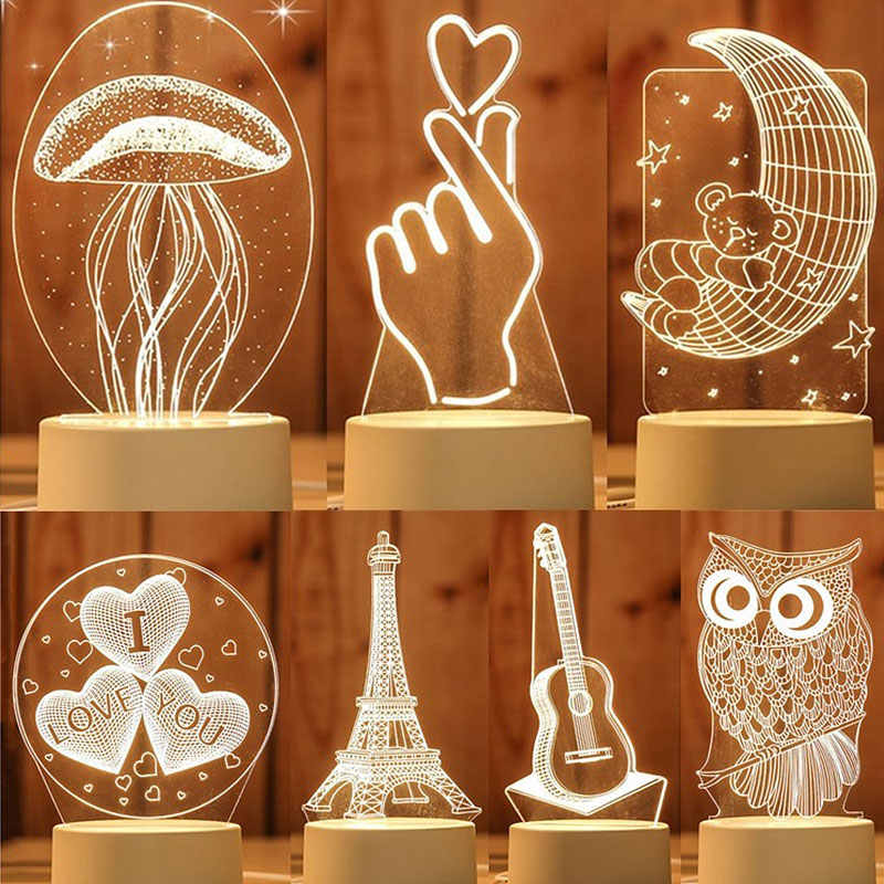 Горячая 3D мультфильм животных Медузы светодиодный ночник Творческий вечерние спальня ночник детский Рождественский подарок