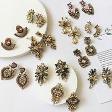 Ztech 30 Champagne Gold Shiny Glass Crystal Ear Earrings For Women Wedding Dangle Drop Earring Vintage Party Jewelry