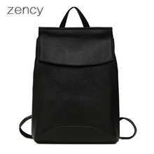 Zency cuero genuino mochilas de las mujeres señoras de la muchacha bolsa de la escuela mochila mochila zurriago de la capa superior