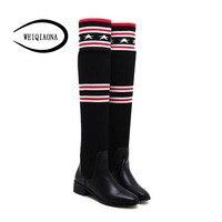 Модные женские зимние высокие сапоги женские эластичные удобные плоские сапоги выше колена Ботинки для отдыха теплые облегающие сапоги-чу...