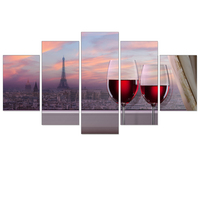Frameless Canvas Painting Red Wine Tipsy City Landscape Art Print Wall Oil Picture Home Decoration Poster