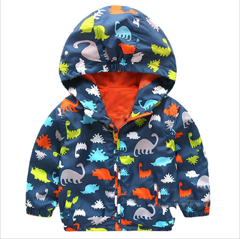 High quality Boys Clothing Waterproof Windproof Hooded Children Dinosaur Rain Coat Outerwear coat Hooded Children Clothing