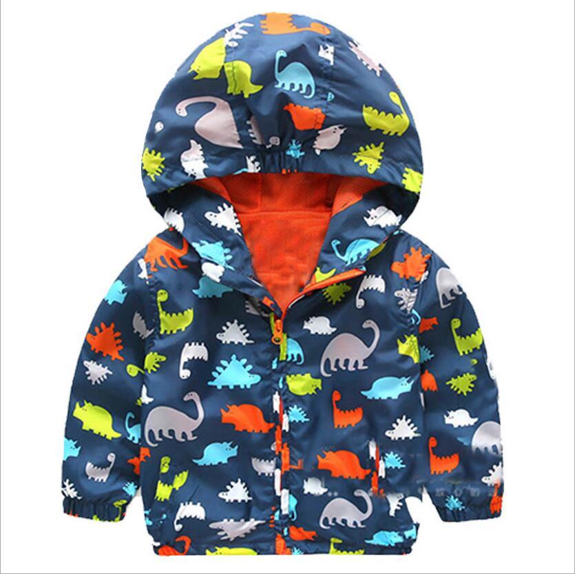 High quality Boys Clothing Waterproof Windproof Hooded Children Dinosaur Rain Coat Outerwear coat Hooded Children Clothing