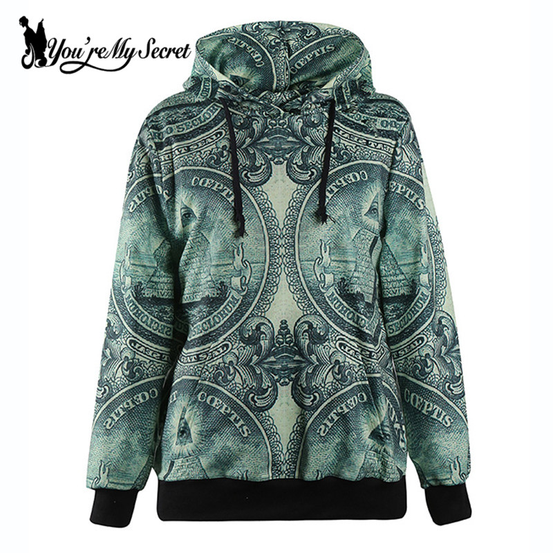 [Youre My Secret] Fashion Women Hoodied Sweatshirt Pyramid Digital Print Women Sportswear Casual Long-Sleeve O-Neck Hoodies