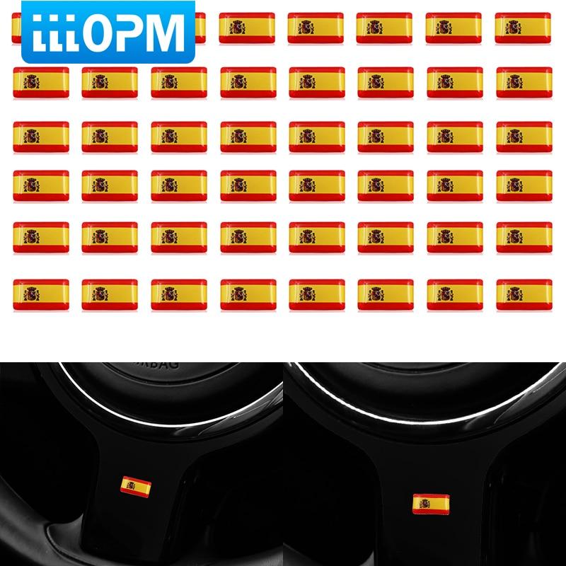 50pcs 3D Epoxy Sticker Car Steering Wheel Sticker Spanish Flag Emblem For Seat Ibiza Leon Ateca Cordoba Car Styling Accessories