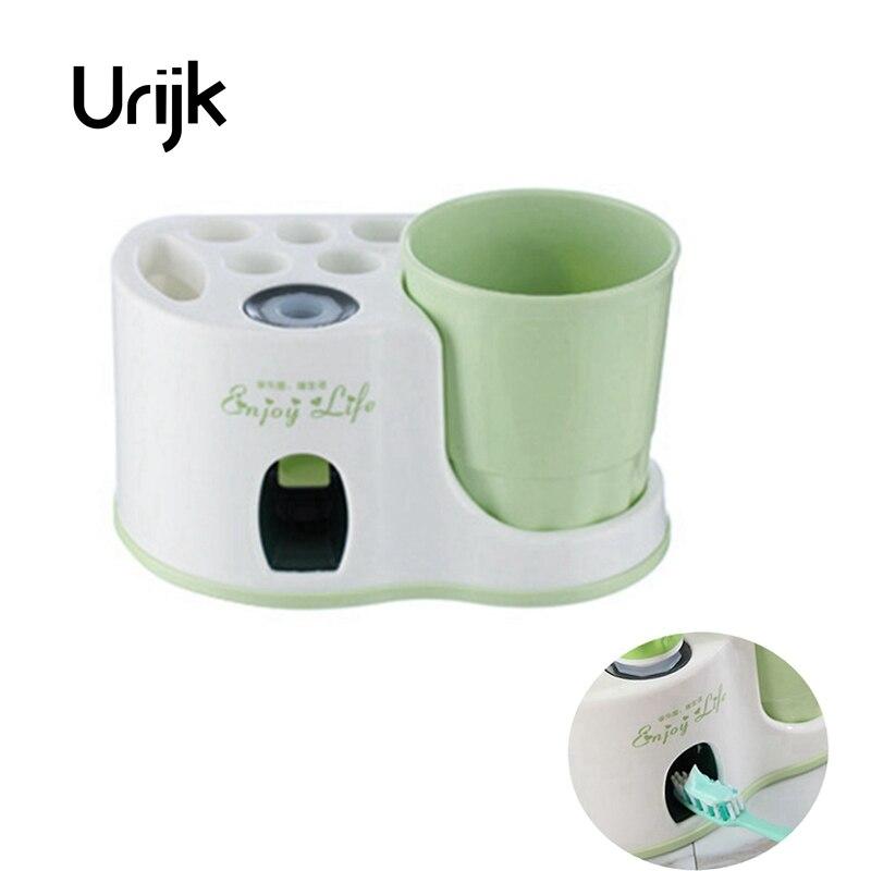 Urijk Verde Creativo Portaspazzolino Vestito Lavaggio Automatico Spremere Il Dentifricio Spazzolino Titolare Ventosa Bagno di Famiglia Strumenti