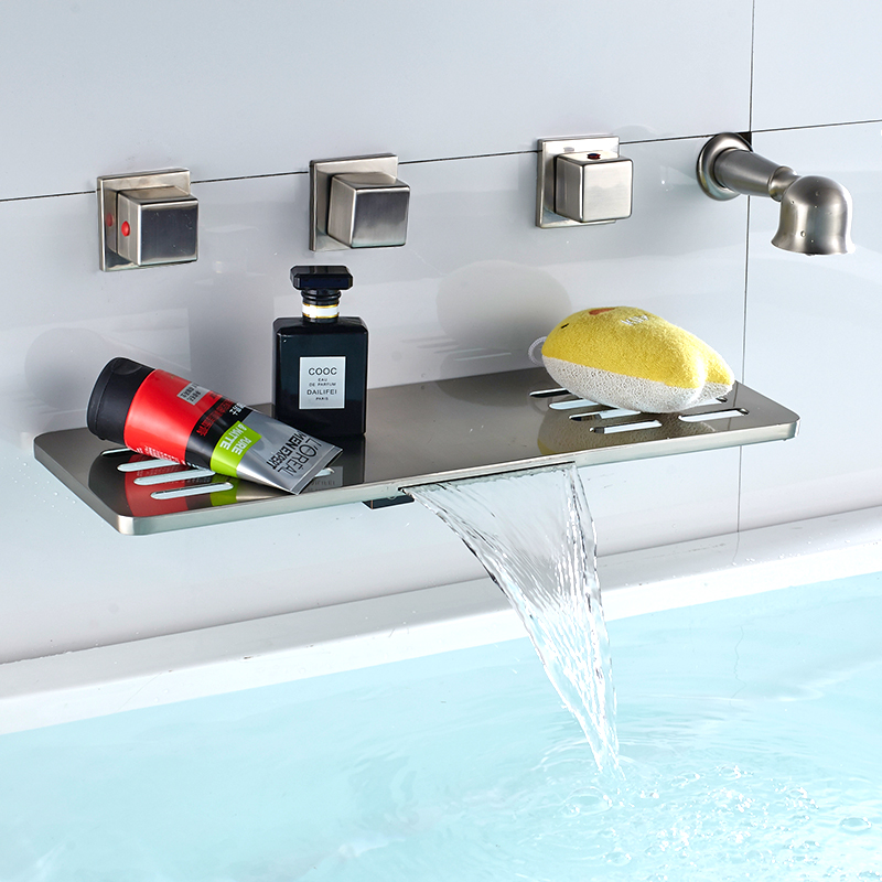 Nickel Brushed Waterfall Spout Bathroom Tub Faucet Four Handles Mixer Tap Wall Mounted Wth Storage Function цены онлайн