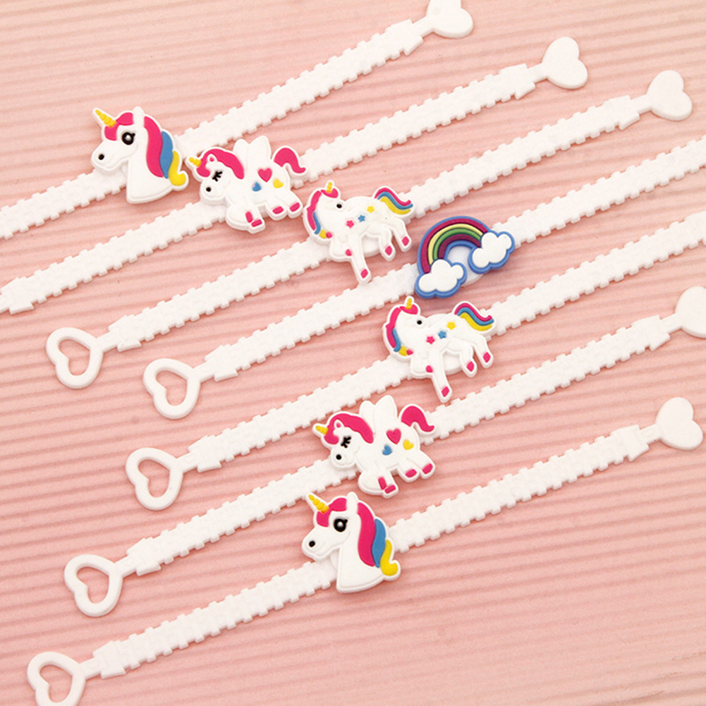 12Pcs Unicorn Bracelet Soft Band Wristband Birthday Party Favors Kid Girls Gifts