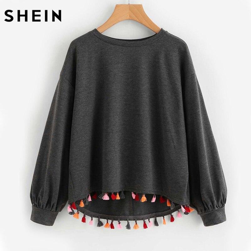 SHEIN colorido borla ajuste Dip Hem Heathered pulóver gris manga larga Casual otoño mujeres sudaderas pulóver