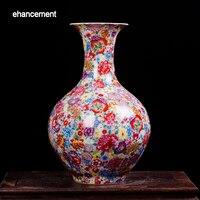 Антикварная изысканный керамики Tall ваза цветы море китайский Винтаж ваза бытовой украшением ремесленных меблировки