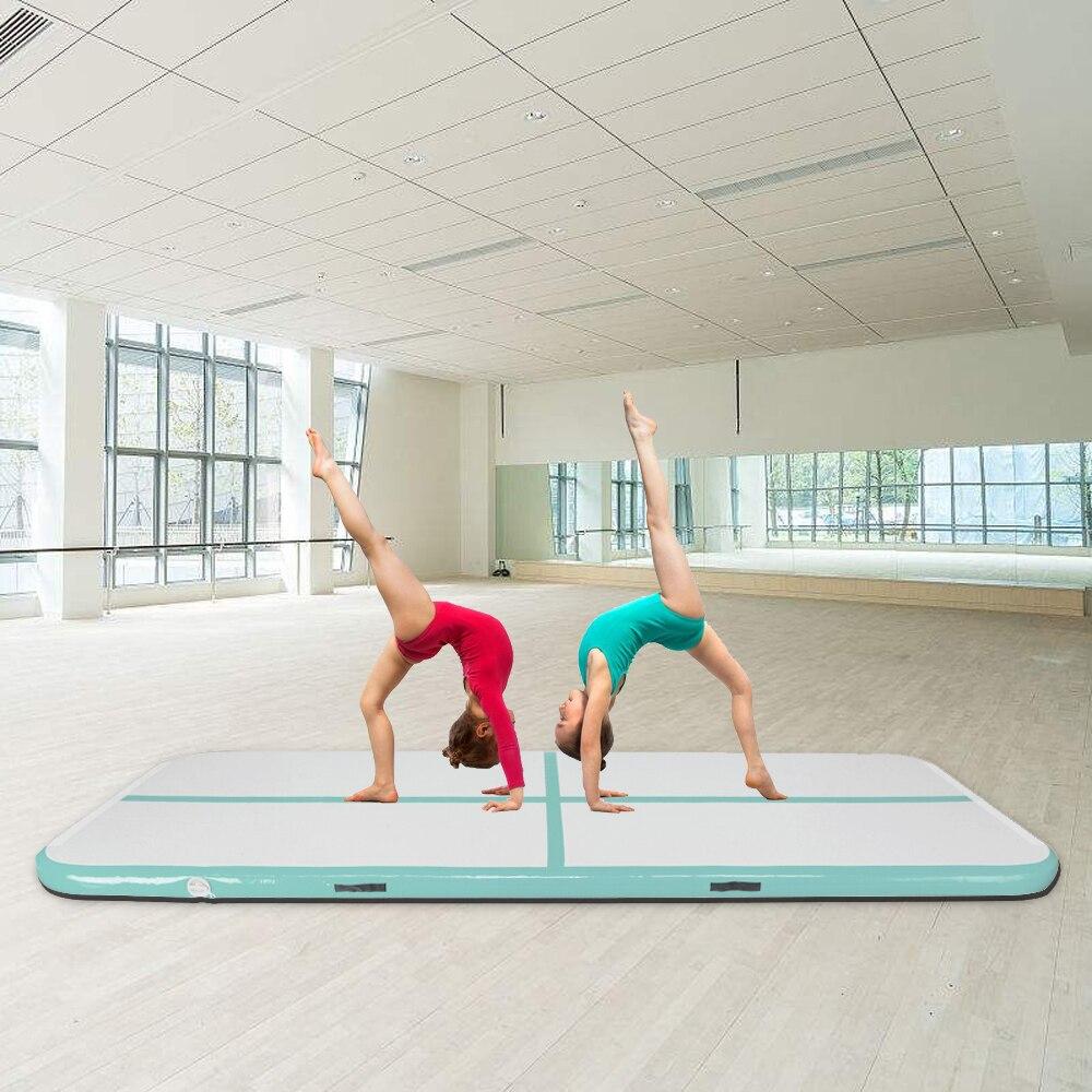Tapis de gymnastique gonflable 10' x 3.3 'tapis de Tumbling avec plancher d'air de pompe pour un usage domestique, plage, parc et eau bleu et gris