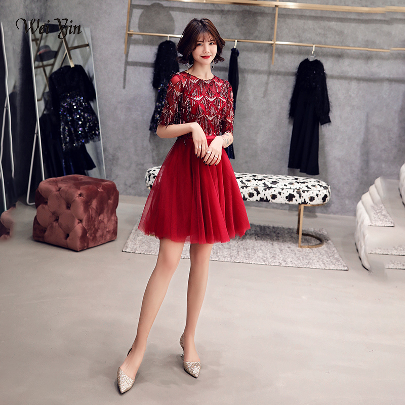 wei yin 2019 Robe De   Cocktail   Courte Tasse Elegant A Line Short Sleeve Tulle   Cocktail     Dresses   Wine Red Formal Party Gowns WY1608