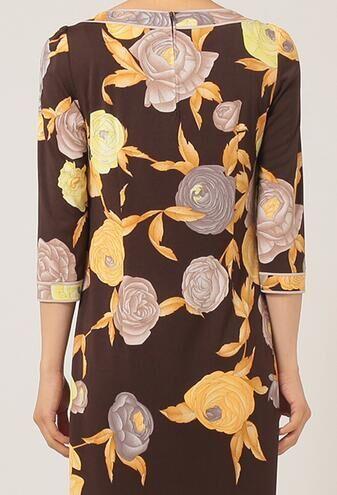 Donne Vintage 3 Spring Stampa Flowers 4 Maniche Designer 2017 Brand Nuovo Jersey Dalle Fashion Vestito Di Giorno Elasticizzato Seta Xxl Fq04nw