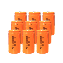 Free Shipping 12PCS 22*42mm Sub C SC Rechargeable Battery 1.2V 2800mAh NI-CD Batteries With PCB For Electronic Tools Orange
