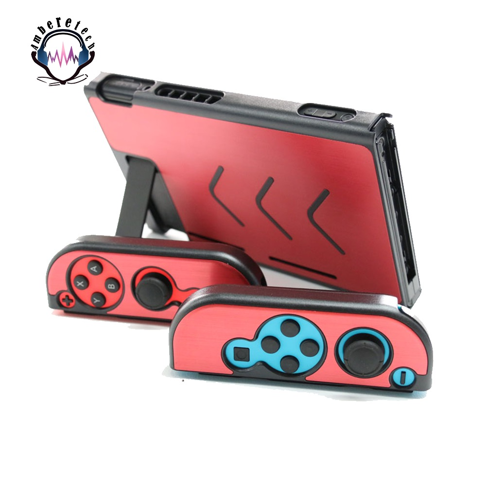 Metal Portable Back Protection Case PC Anti-scratch Dustproof Hard Shell Cover for Nintend Switch NS NX Joy-Con Controller