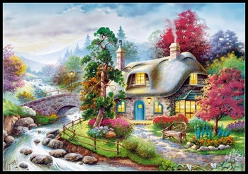 Needlework for embroidery DIY DMC High Quality - Counted Cross Stitch Kits 14 ct Oil painting - Creek Cottage