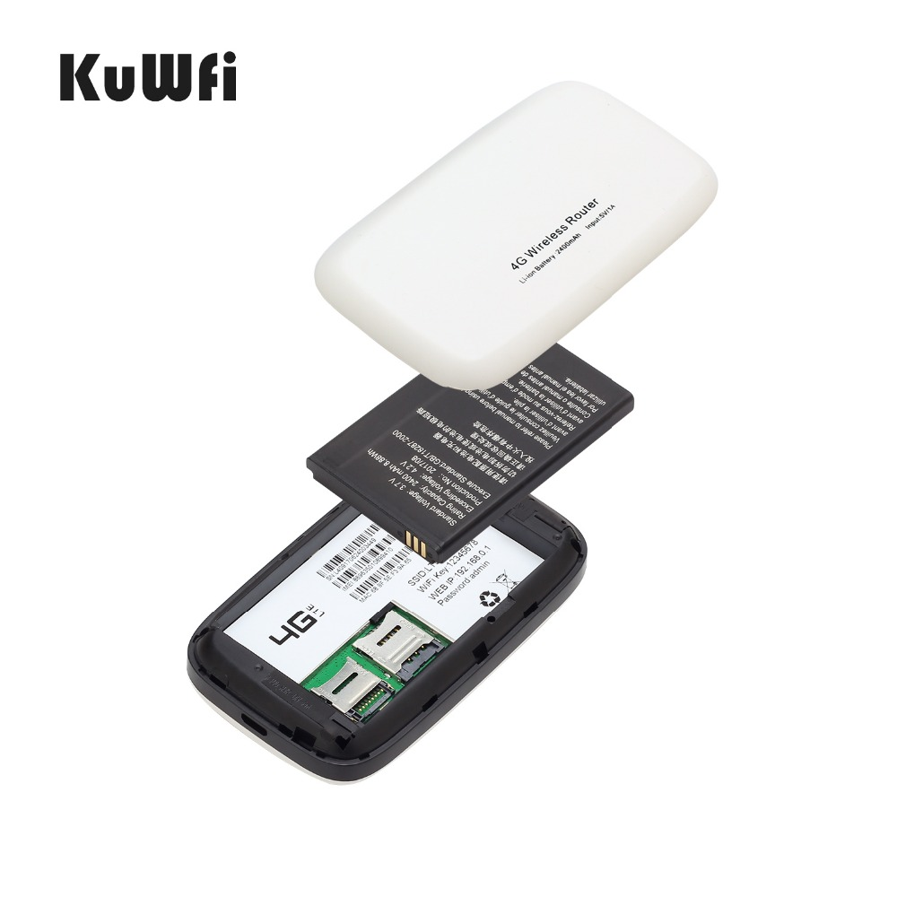 Image 5 - KuWfi Unlocked 150Mbps 3G 4G LTE Wifi Router Mobile Wifi Hotspot 2400mAH Battery With SIM Card Slot LCD Display Up To 10 Users-in 3G/4G Routers from Computer & Office