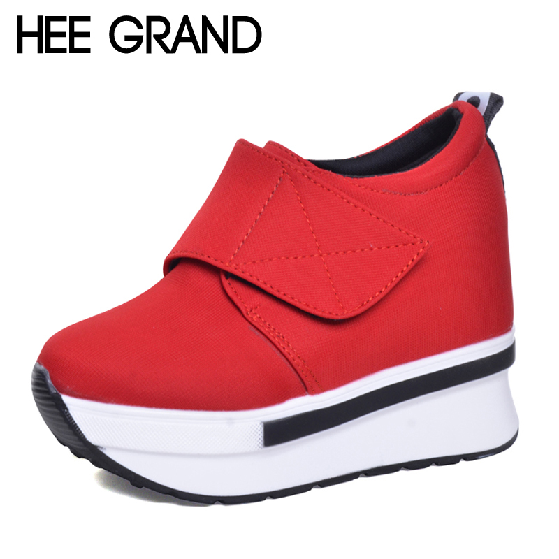 HEE GRAND Wedges Women Boots 2017 New Platform Shoes Woman Creepers Slip On Ankle Boots Fashion Casual Women Shoes XWX5883 hee grand wedges gladiator sandals summer style women ankle boots platform shoes woman slip on flat open toe women shoes xwz2583
