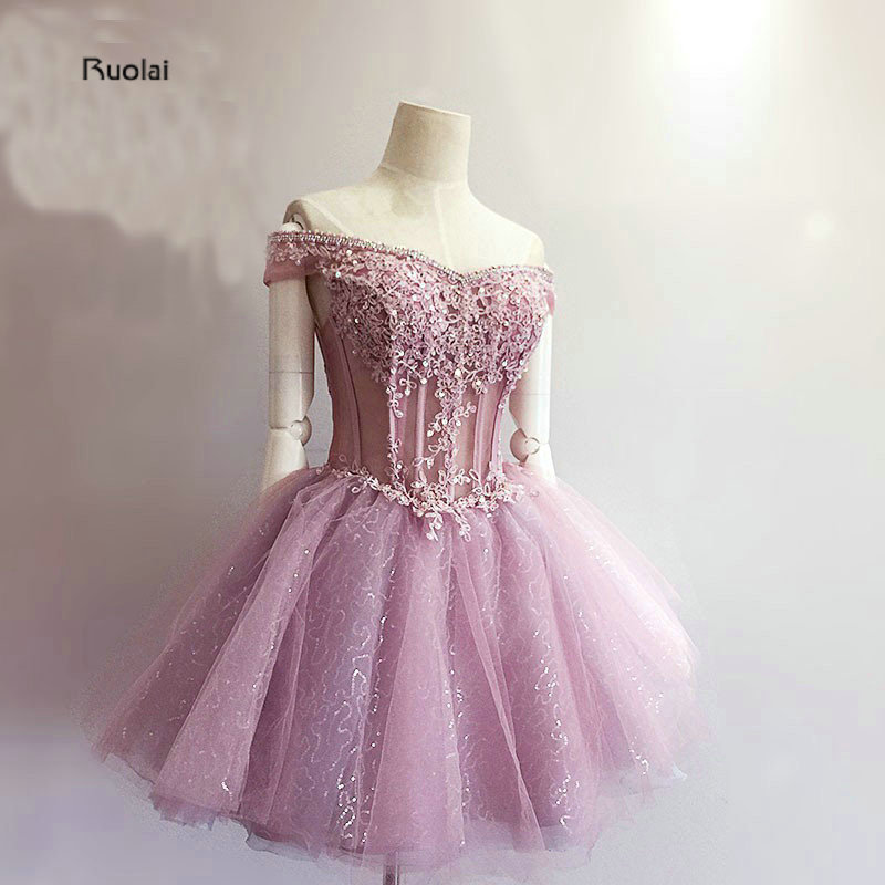 Charming Mini   Prom     Dresses   Short 2018 Appliques Beading Sequined Boat Neck Formal   Dresses   Evening Party   Dresses