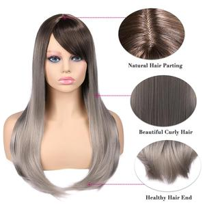 Image 4 - お気に入り合成かつらストレート亜麻シルバー 20 インチ側部強打グラデーションカラー毛先自然なサイズ調整黒人女性