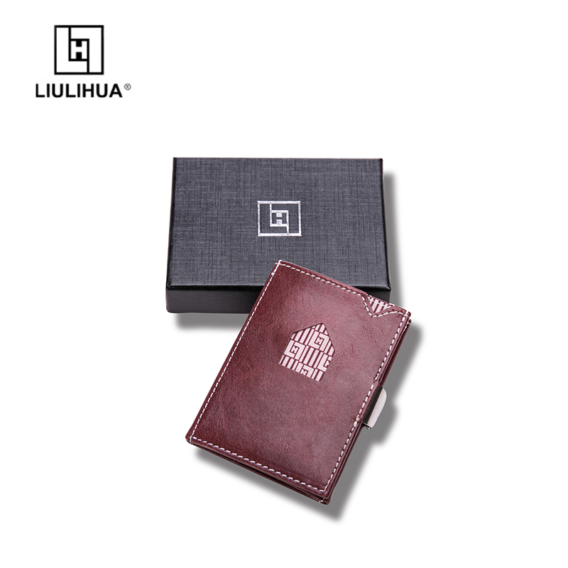 Lovely 3 Fold Leather Wallet Mini Thin Minimalist Wallets for Men Money Clip Magic Front Pocket Clamp For Money Clip Holder ...