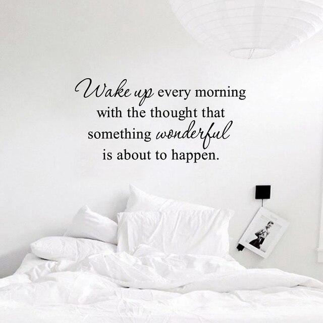 US $5.37 10% OFF|Freies Verschiffen wandaufkleber kinder schlafzimmer quote  Wake up jeden morgen Inspirierend Zitat Vinyl Schlafzimmer wandtattoos in  ...