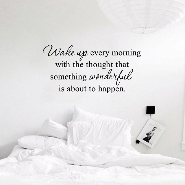 gratis verzending muurstickers kids slaapkamer quote elke ochtend wakker inspirational citaat vinyl slaapkamer muurstickers