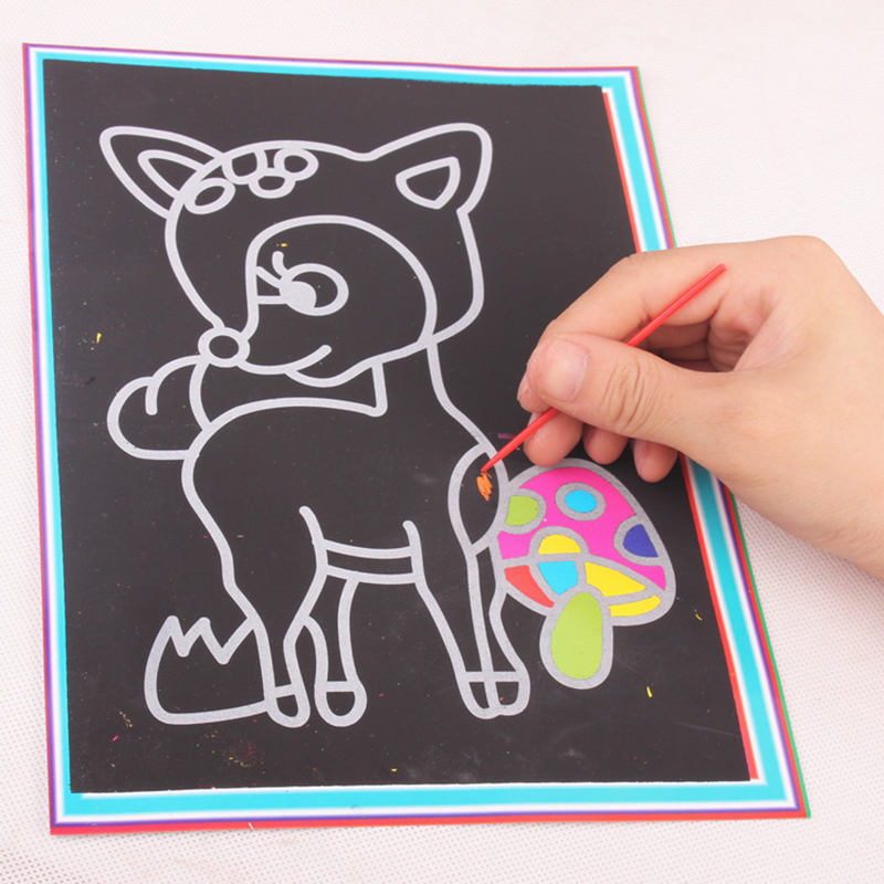 20pcs/lot 13*9.5 CM Kids Magic Scratch Art Doodle Pad Painting Card Educational Game Toys Early Learning Drawing Toy Random Type