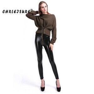 Image 4 - CHRLEISURE 5XL Plus Size Velvet Leather Legging Warm Winter Women Faux Leather Leggin Long high Waist  Slim Legging Women