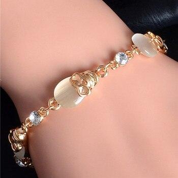 Gold Color Austrian Crystal Skull Charm Bracelets