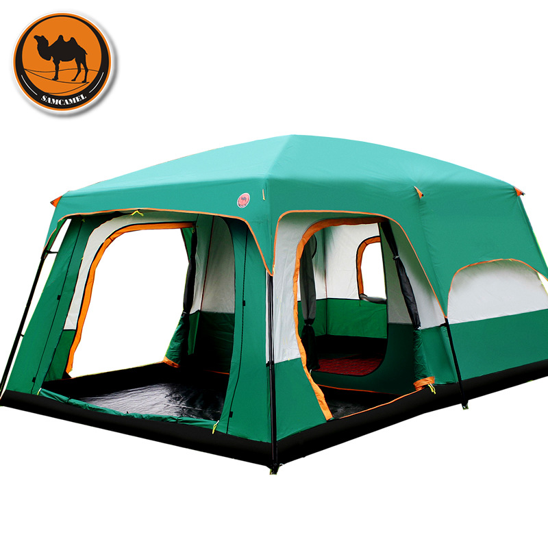 The camel outdoor New big space camping outing two bedroom tent ultra-large hight quality waterproof camping tent authentic august 4 8 person outdoor camping 1hall 1bedroom anti rain wind big traveling camping tent in good quality large space