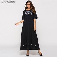 Cotton Linen Ethnic Embroidery Dress Female Summer Fashion Short Sleeve Ladies Vintage Maxi Dresses Casual Vestidos Womens