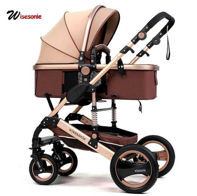 Wisesonle carrinho de bebê 2 em 1 carrinho deitado ou umedecimento dobrável luz estações rússia livre shippin