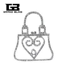 купить Crystal Handmade Lady Purse Brooch Pin Unique Jewelry Gift дешево
