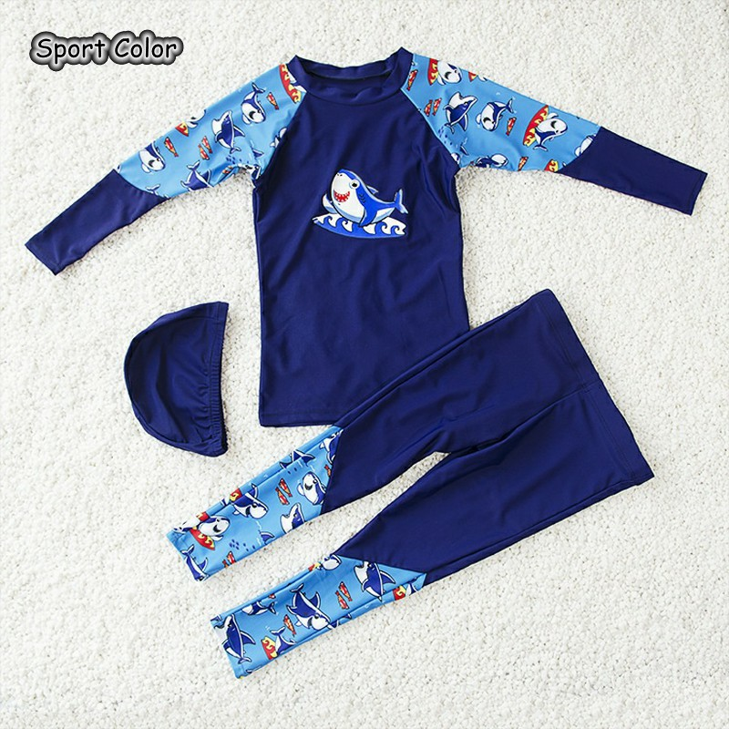 Lovely Blue Kids Swimsuit Quality Boys Baby Swimwear Two-pieces Bath Suit Infant 3D Cartoon Long Sleeve Children Beachwear