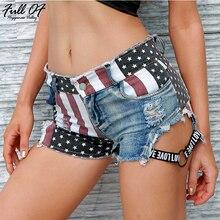 Fashion short jeans woman befree Sexy US flag print Vintage high waist Women Hole Night club ladies shorts clothes Hot New