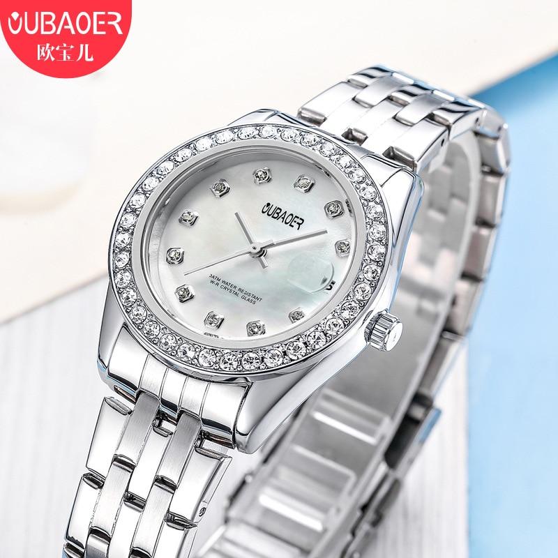 woman quartz watches oubaoer brand waterproof ladies luxury womens wristwatch stainless steel diamond calendar Citizen movement цена