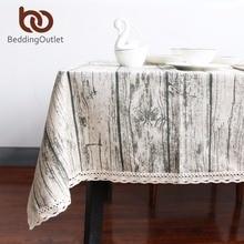 Beddingoutlet vintage wood grain simulación modelado rústico mantel paño de tabla cubierta de tabla del rectángulo lavable decoración