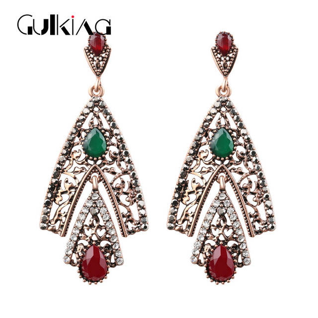 Antique Gold Dubai Bride Jewelry Earrings 2017 New Design Vintage For Women Turkish Max