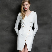 Female Mini Dress Work Wear Classic Women Slim Sexy Slim Korean Style Vestido Femme Office Lady White Autumn Pencil Dress Party