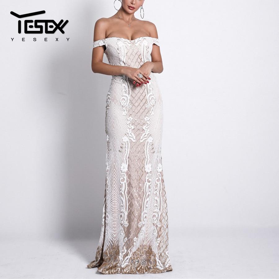 Yesexy 2019 Slash cou élégant femmes robe de soirée dos nu Patchwork fleur broderie étage longueur femmes Maxi robe VR18623